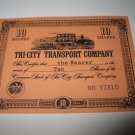 1964 Stocks & Bonds 3M Bookshelf Board Game Piece: single Tri-City Transport 10 Shares stock card