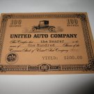 1964 Stocks & Bonds 3M Bookshelf Board Game Piece: single United Auto 100 Shares stock card