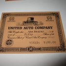 1964 Stocks & Bonds 3M Bookshelf Board Game Piece: single United Auto 50 Shares stock card