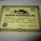 1964 Stocks & Bonds 3M Bookshelf Board Game Piece: single Uranium enterprises 100 Shares stock card
