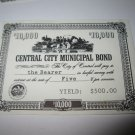 1964 Stocks & Bonds 3M Bookshelf Board Game Piece: single Central City $10,000 Municipal Bond