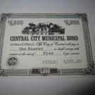 1964 Stocks & Bonds 3M Bookshelf Board Game Piece: single Central City $5,000 Municipal Bond