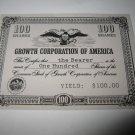 1964 Stocks & Bonds 3M Bookshelf Board Game Piece: single Growth Corp. 100 Shares stock card