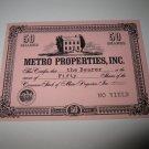 1964 Stocks & Bonds 3M Bookshelf Board Game Piece: single Metro Properties 50 Shares stock card