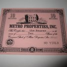 1964 Stocks & Bonds 3M Bookshelf Board Game Piece: single Metro Properties 10 Shares stock card
