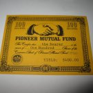1964 Stocks & Bonds 3M Bookshelf Board Game Piece: single Pioneer Mutual 100 Shares stock card