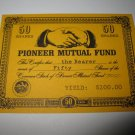 1964 Stocks & Bonds 3M Bookshelf Board Game Piece: single Pioneer Mutual 50 Shares stock card
