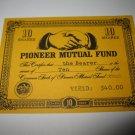 1964 Stocks & Bonds 3M Bookshelf Board Game Piece: single Pioneer Mutual 10 Shares stock card