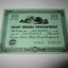 1964 Stocks & Bonds 3M Bookshelf Board Game Piece: single Shady Brooks Dev. 100 Shares stock card