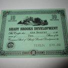 1964 Stocks & Bonds 3M Bookshelf Board Game Piece: single Shady Brooks Dev. 10 Shares stock card