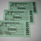 2006 Monopoly - Here & Now Board Game Piece: stack of money- (3) $200,000 Bills