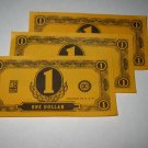 1958 Easy Money Deluxe ed. Board Game Piece: stack of money - (3) $1.00 Bills