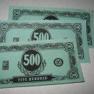 1958 Easy Money Deluxe ed. Board Game Piece: stack of money - (3) $500.00 Bills