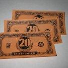 1958 Easy Money Deluxe ed. Board Game Piece: stack of money - (3) $20.00 Bills