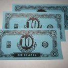 1958 Easy Money Deluxe ed. Board Game Piece: stack of money - (3) $10.00 Bills