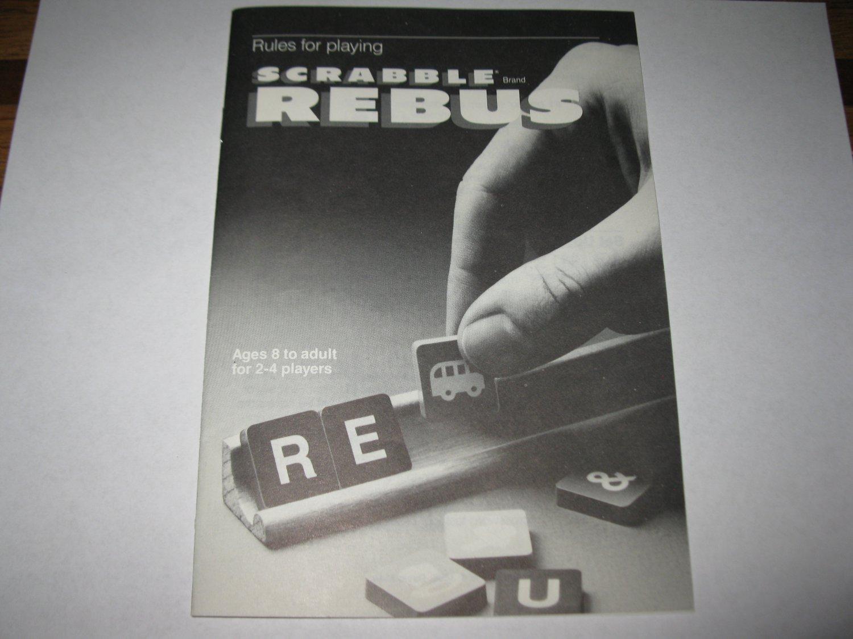 1986 Scrabble Rebus Board Game Piece: Instruction Booklet