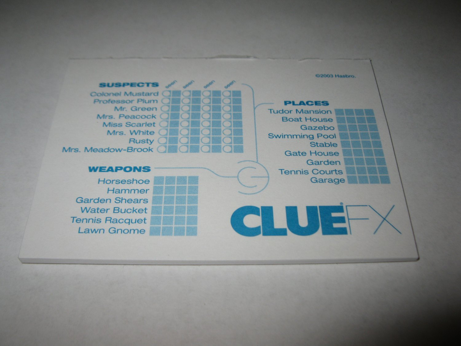 2003 Clue FX Board Game Piece: partially used Clue Pad
