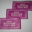 1979 The American Dream Board Game Piece: stack of money- (3) $5,000 Bills