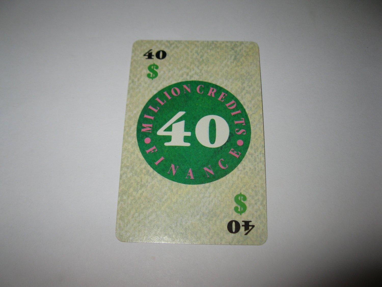 1986 Power Barons Board Game Piece: $40 Million Credits Finance card