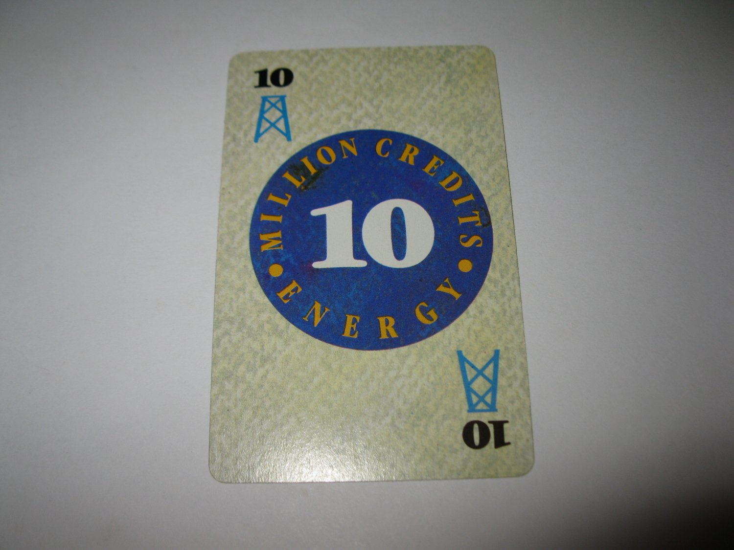 1986 Power Barons Board Game Piece: $10 Million Credits Energy card