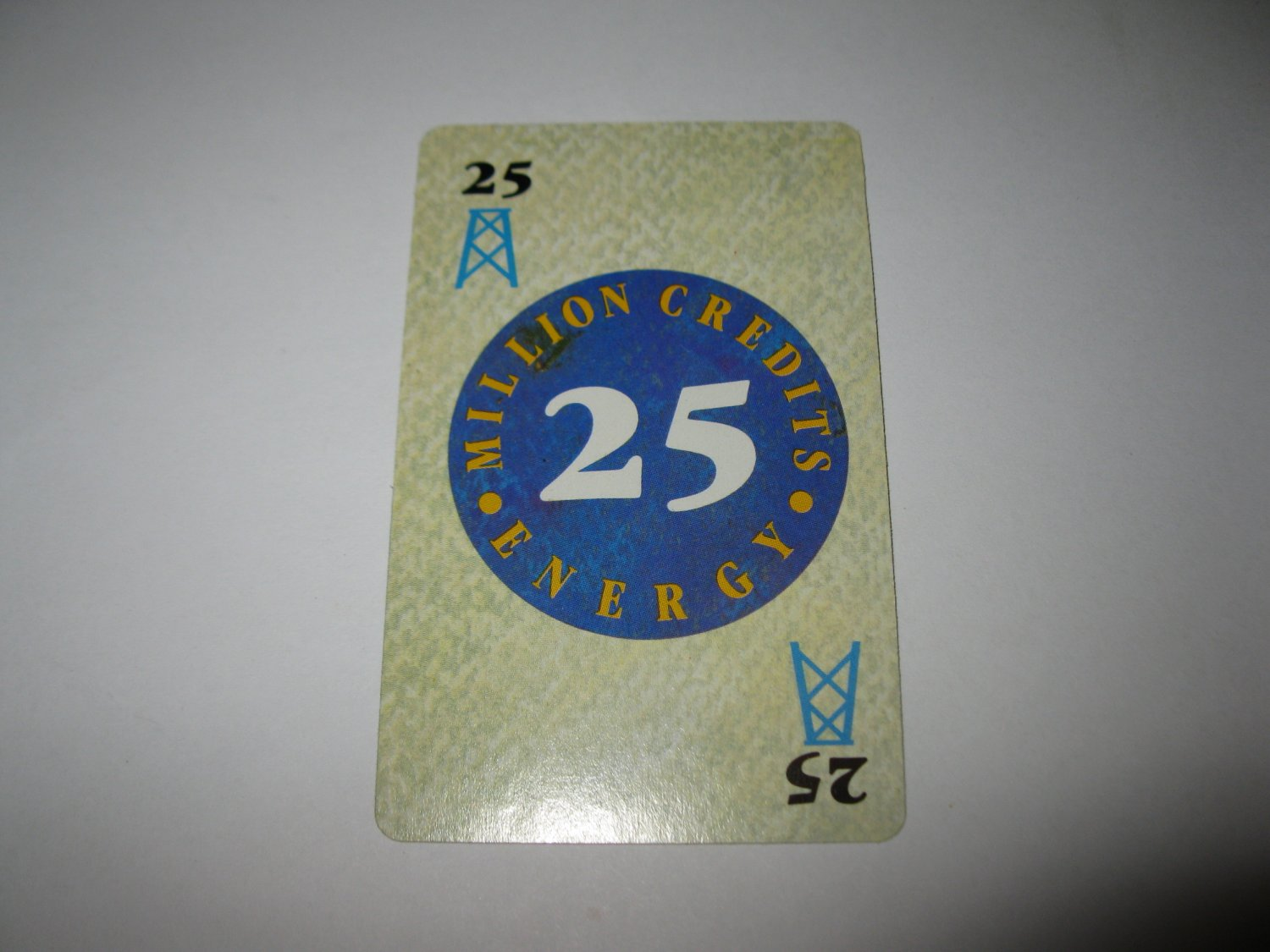 1986 Power Barons Board Game Piece: $25 Million Credits Energy card