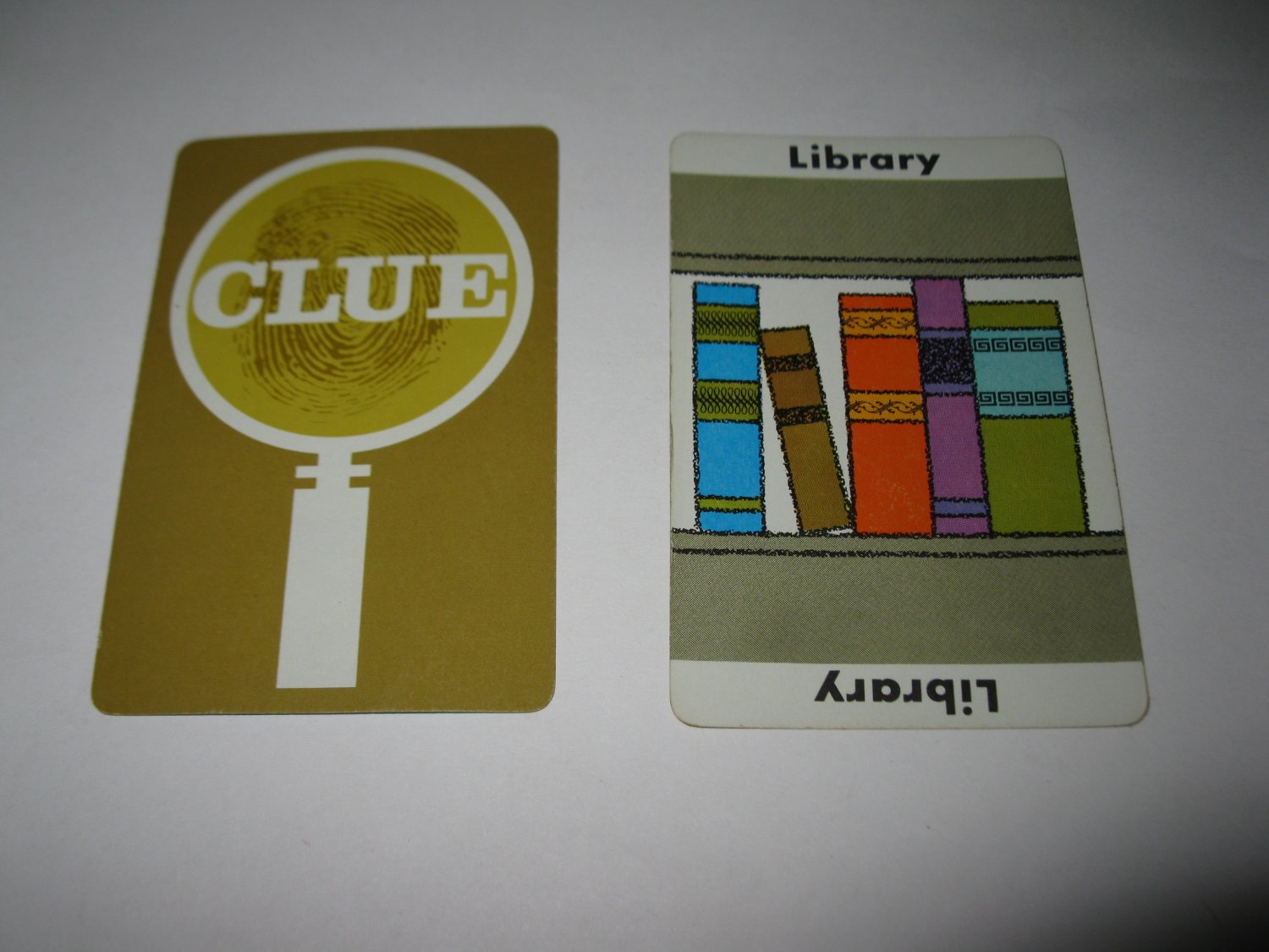 1963 Clue Board Game Piece: Library Location Card