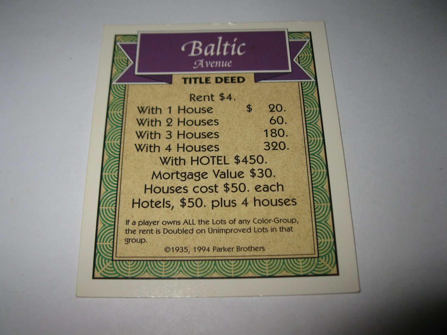 1995 Monopoly 60th Ann. Board Game Piece: Baltic Avenue Property Deed