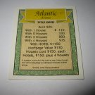 1995 Monopoly 60th Ann. Board Game Piece: Atlantic Avenue Property Deed