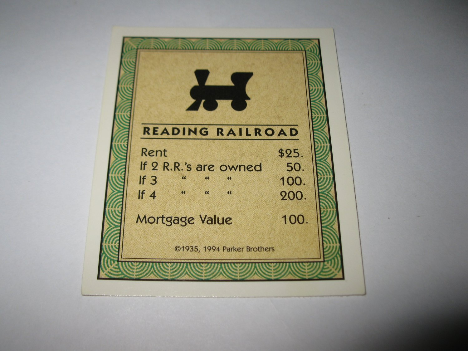 1995 Monopoly 60th Ann. Board Game Piece: Reading Railroad Property Deed