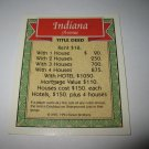 1995 Monopoly 60th Ann. Board Game Piece: Indiana Avenue Property Deed