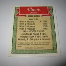 1995 Monopoly 60th Ann. Board Game Piece: Illinois Avenue Property Deed