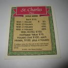 1995 Monopoly 60th Ann. Board Game Piece: St. Charles Place Property Deed