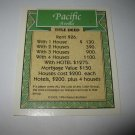 1995 Monopoly 60th Ann. Board Game Piece: Pacific Avenue Property Deed
