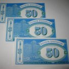 1995 Monopoly 60th Ann. Board Game Piece: stack of money - (3) $50 Bills