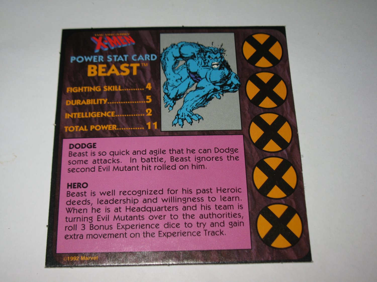 1992 Uncanny X-Men Alert! Board Game Piece: Beast Player Stat Card