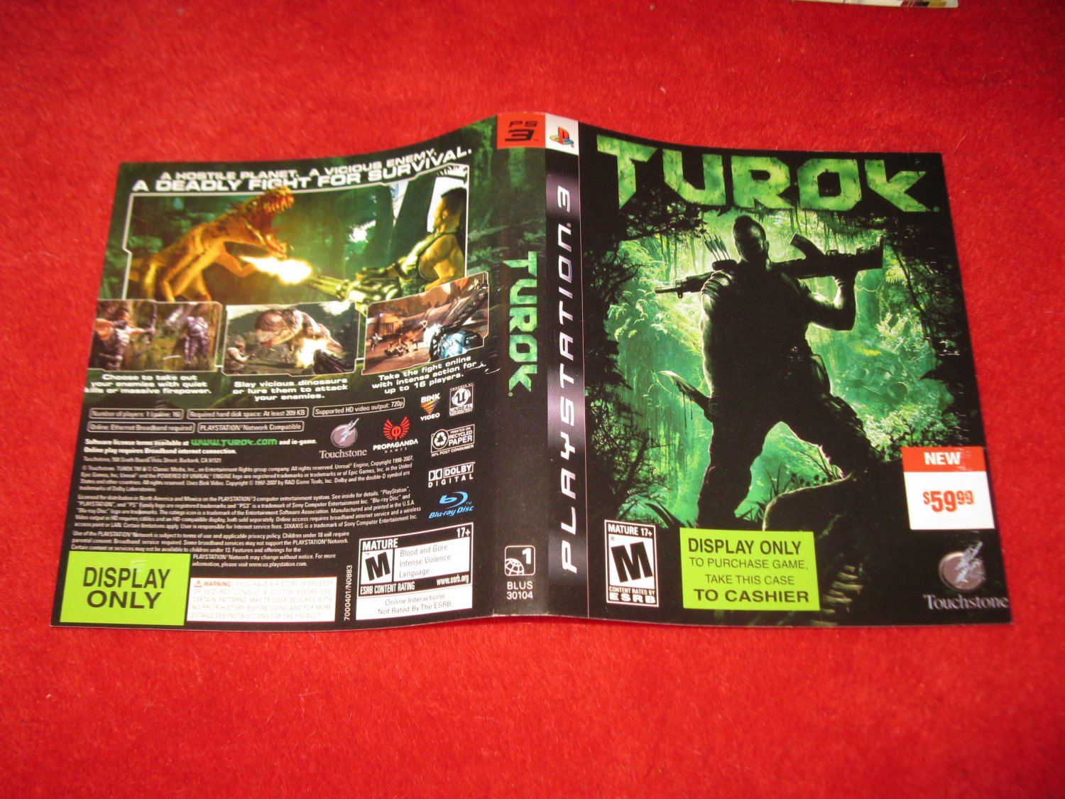 Turok : Playstation 3 PS3 Video Game Case Cover Art insert