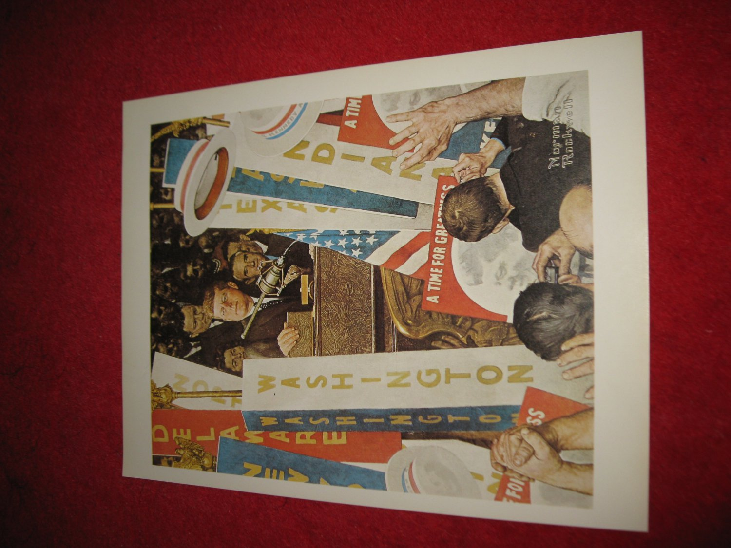 """vintage Norman Rockwell: A Time For Greatness (Kennedy Election) - 10"""" x 13"""" Book Plate Print"""