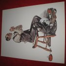 "vintage Norman Rockwell: Man Threading a Needle - 10"" x 13"" Book Plate Print"