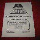 1989 Mega Force Action Figure: Strikemaster Instruction Booklet-  foldout insert