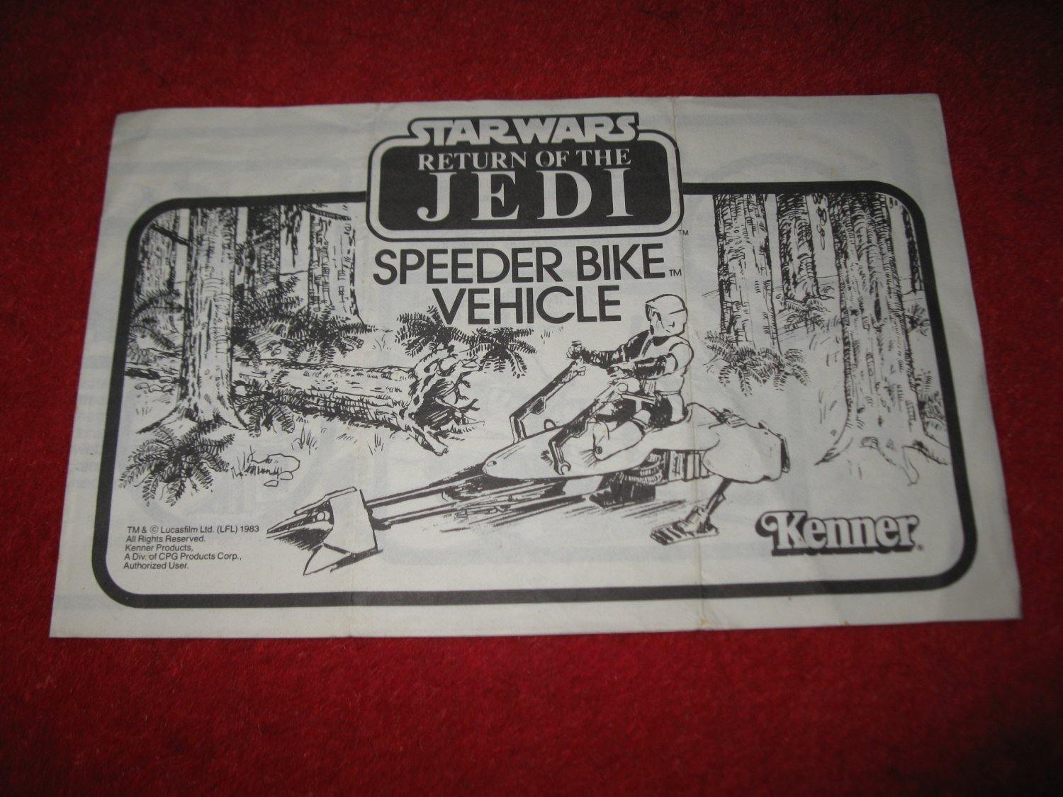 1983 Star Wars Return of the Jedi Action Figure- Speeder Bike : Instruction Booklet-  foldout insert