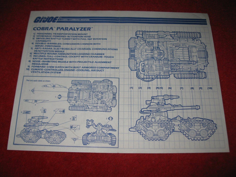 1990 G.I. Joe ARAH Action Figure- Cobra Paralyzer: Instruction Booklet-  foldout insert