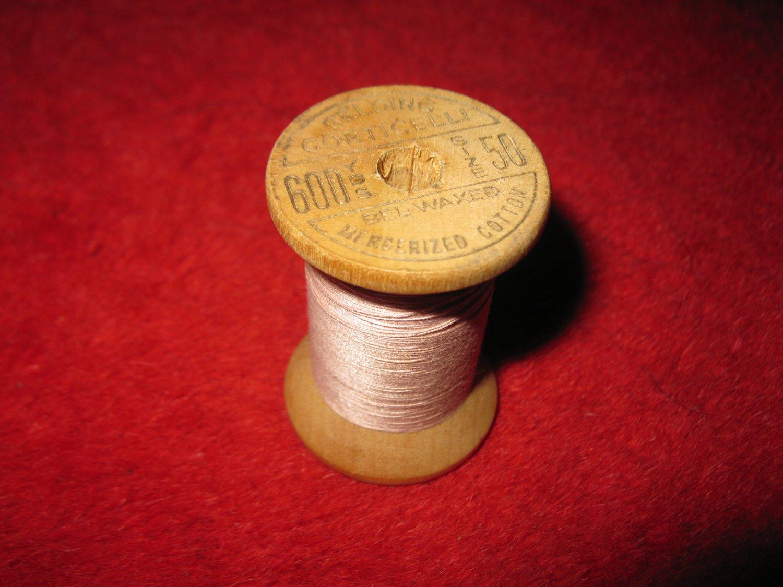 Belding Corticelli wood Spool w/ Thread: Waxed , 50, shade 1022, Mercerized Cotton