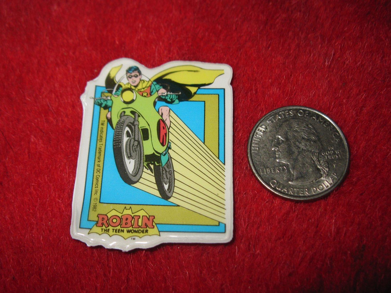 Vintage 1982 Cartoon Refrigerator Magnet: DC Comics Robin The Teen Wonder riding Robin-Cycle