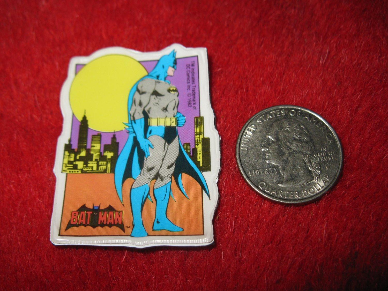 Vintage 1982 Cartoon Refrigerator Magnet: DC Comics Batman w/ Yellow Gotham Moon