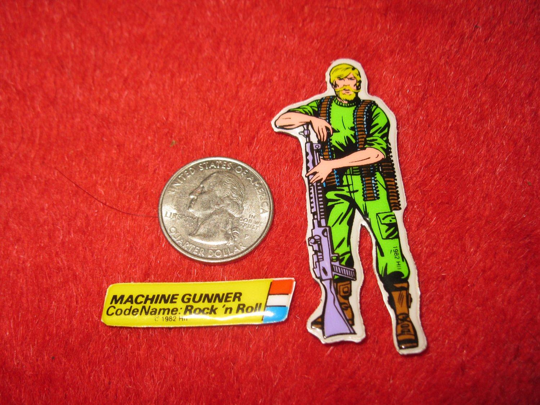 1982 G.I. Joe Cartoon Series Refrigerator Magnet: Machine Gunner Rock 'n Roll w/ Label