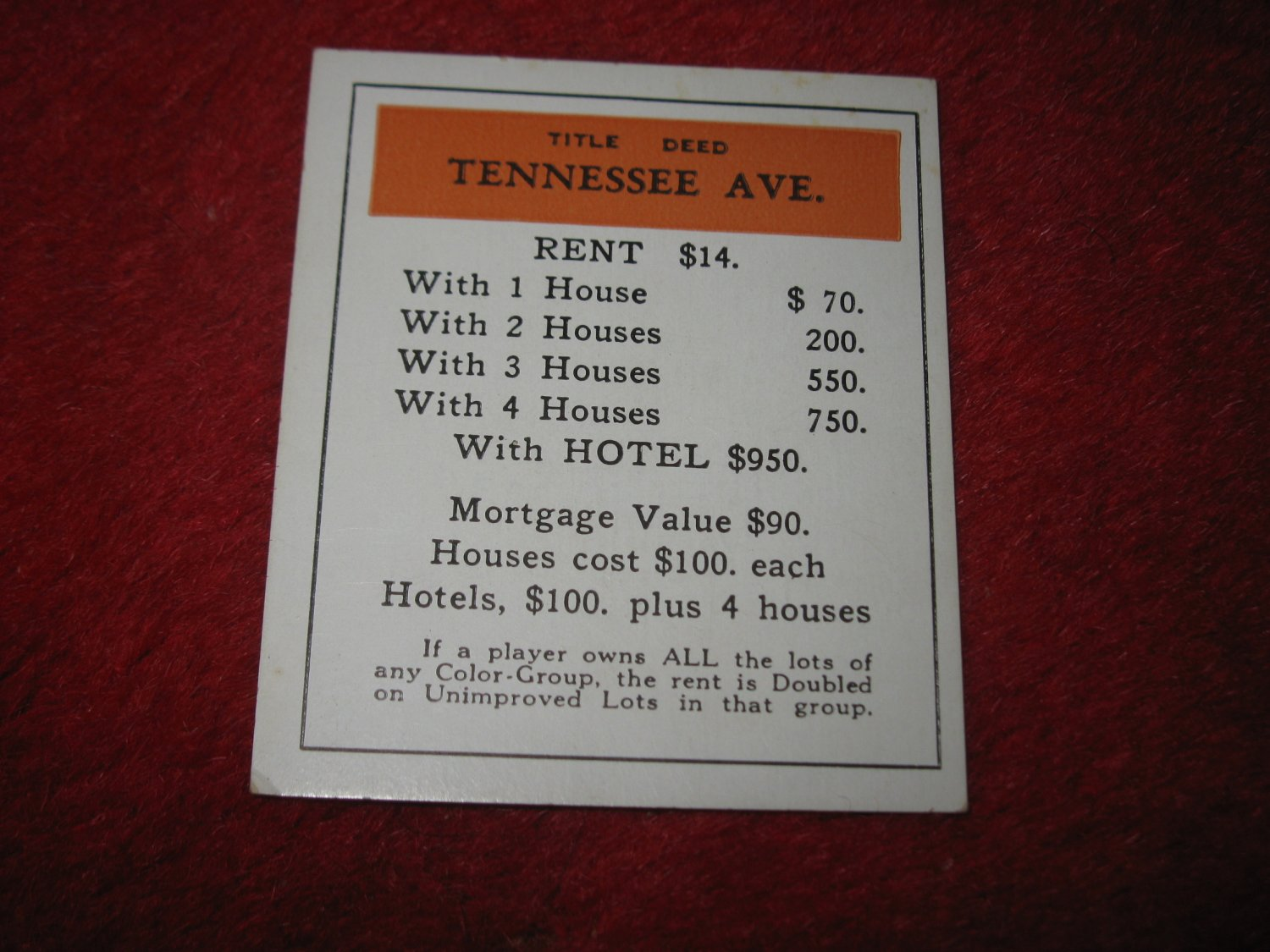 1952 Monopoly Popular Ed. Board Game Piece: Tennessee Ave - Title Deed