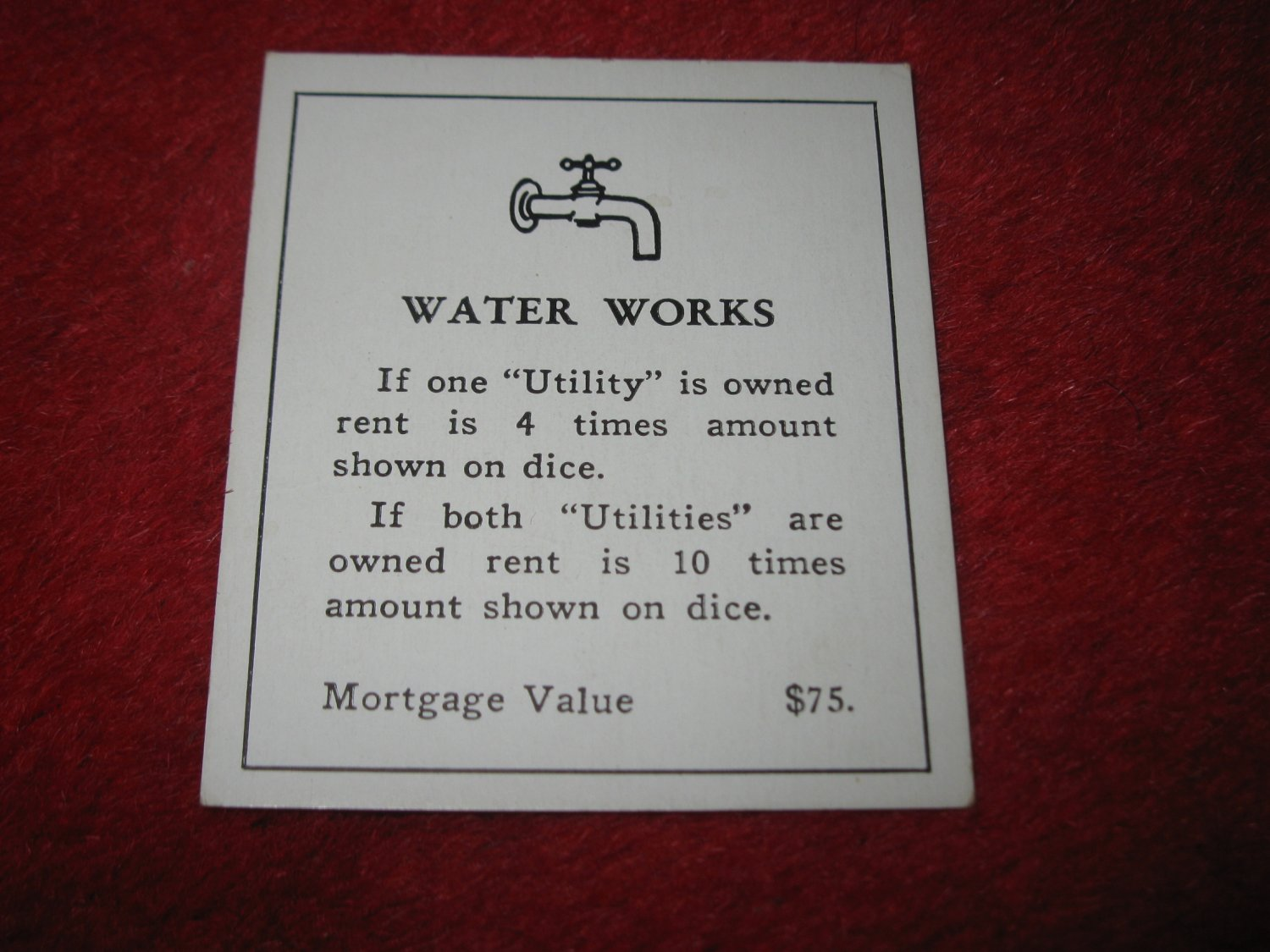 1952 Monopoly Popular Ed. Board Game Piece: Water Works - Title Deed