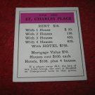 1952 Monopoly Popular Ed. Board Game Piece: St. Charles Place - Title Deed