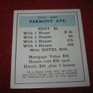1952 Monopoly Popular Ed. Board Game Piece: Vermont Ave - Title Deed