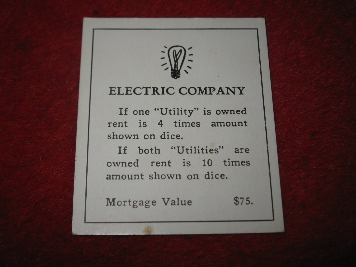 1952 Monopoly Popular Ed. Board Game Piece: Electric Company - Title Deed